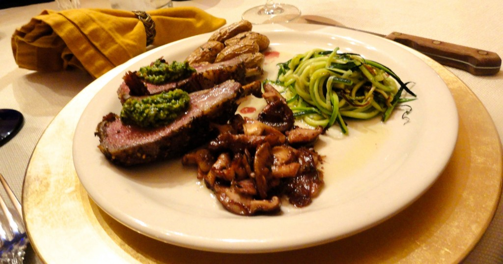 Grilled Rack of Lamb with Spinach and Artichoke Pesto