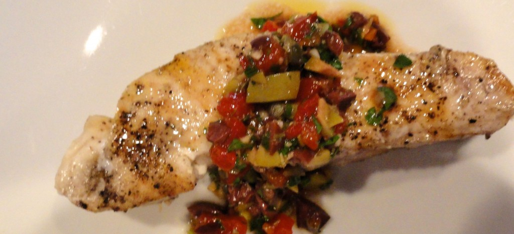 baked swordfish with olive relish