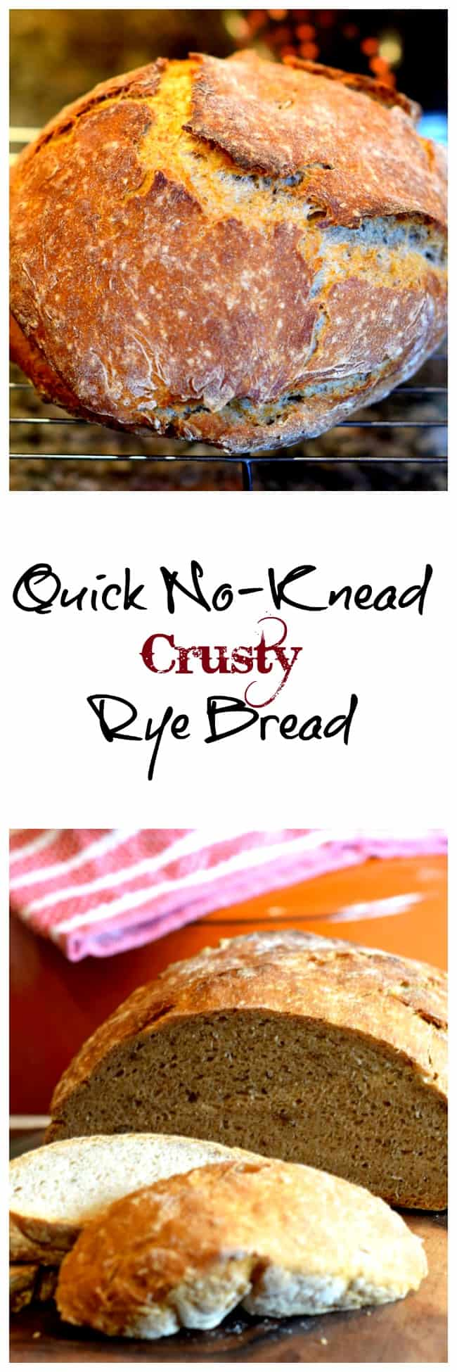 Quick No-Knead Crusty Rye Bread. So simple to make, no kneading and you don't have to wait 18 hours